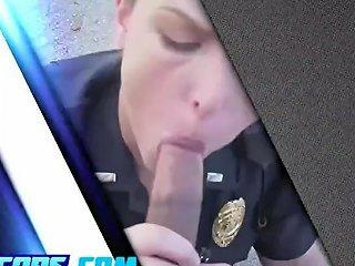 Big Tits Officers Bang In A Garage
