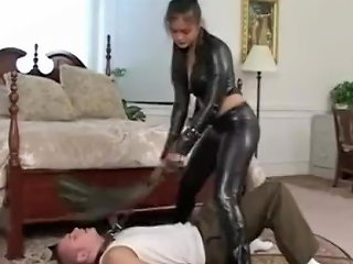 Leather Asian Dominates Tied Gagged Slave Boy