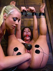 Big tit brunette gets tied up, shocked and fucked by Lorelei Lee