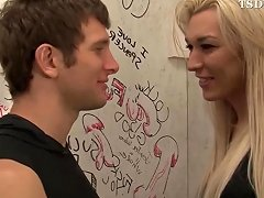Blonde Shemale Shows Her Dick Trought The Gloryhole
